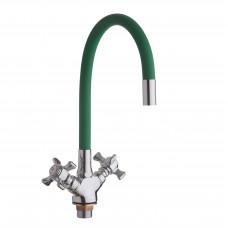 Смеситель для кухни с гайкой, гибк. излив зеленый, KDM-2008BS-07LG-61, 1/2 (без подв.)
