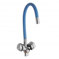 Смеситель д/ кухни с гайкой, гибк. излив голубой, KDM-2008A-07LB-76, 1/2 ( без подв.)