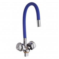 Смеситель д/ кухни с гайкой, гибк. излив синий, KDM-2008A-07BIu-76, 1/2 (без подв.)