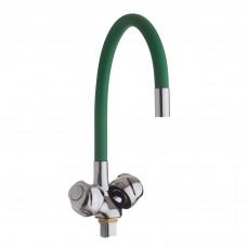 Смеситель д/кухни с гайкой, гибк. излив, зеленый, KDM-2008A-07LG-76, 1/2 (без подв.)