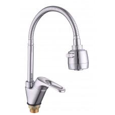 Смеситель для кухни боковой с гайкой (с гибким изливом) KD-3028-32, d35  ( без подв. )