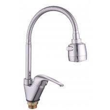 Смеситель для кухни боковой с гайкой (с гибким изливом) KD-3028-39, d35  ( без подв. )
