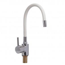 Смеситель для кухни боковой с гайкой, гибкий излив белый, KD-4023-07W-45, d40 (без подв.)