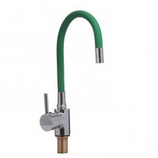 Смеситель для кухни боковой с гайкой, гибкий излив зеленый, KD-4023-07LG-45, d40 (без подв.)