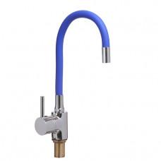 Смеситель для кухни боковой с гайкой, гибкий излив синий, KD-4023-07BIu-45, d40 (без подв.)